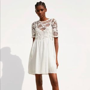 Zara Crochet Lace White Mini Dress